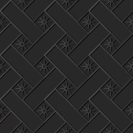 3D dark paper art Cross Check Square Geometry Star Flower, Vector stylish decoration pattern background for web banner greeting card design