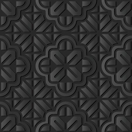 3D dark paper art Curve Cross Geometry Frame Line Flower, Vector stylish decoration pattern background for web banner greeting card design