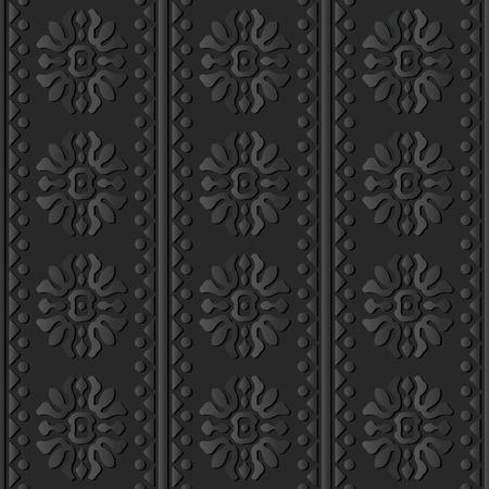 3D dark paper art Curve Cross Round Flower Triangle Dot Line, Vector stylish decoration pattern background for web banner greeting card design Illustration