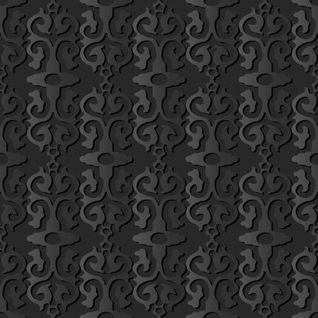 3D dark paper art Curve Cross Retro Crest Frame, Vector stylish decoration pattern background for web banner greeting card design