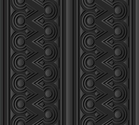 3D dark paper art Triangle Round Cross Frame Line, Vector stylish decoration pattern background for web banner greeting card design Illustration
