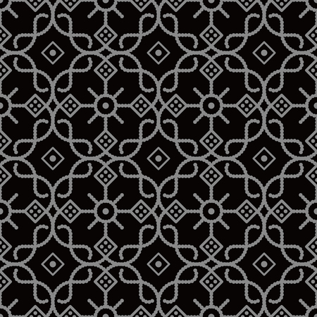 Antique seamless background Curve Check Cross Round Dot Line Frame Flower, Ideal for wallpaper decoration or greeting card design template.