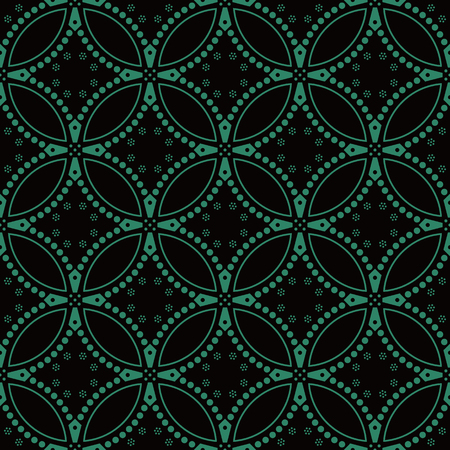 Antique seamless background Round Curve Cross Dot Flower, Ideal for wallpaper decoration or greeting card design template. Illusztráció