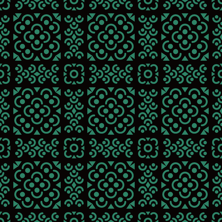 Antique seamless background Round Curve Cross Flower Square Line, Ideal for wallpaper decoration or greeting card design template. 向量圖像