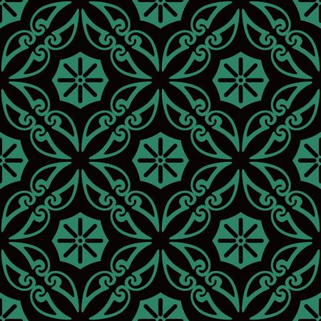 Antique seamless background Curve Spiral Cross Frame Vine flower, Ideal for wallpaper decoration or greeting card design template. Ilustração