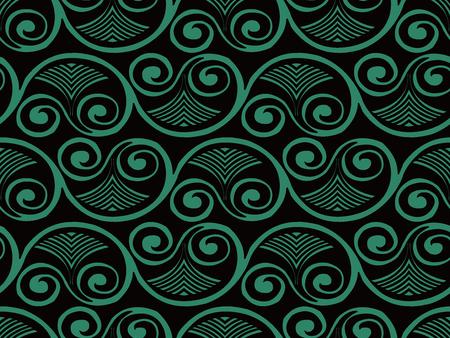 Antique seamless background Curve Spiral Vortex Fan Leaf Frame. Ideal for wallpaper decoration or greeting card design template. Ilustração