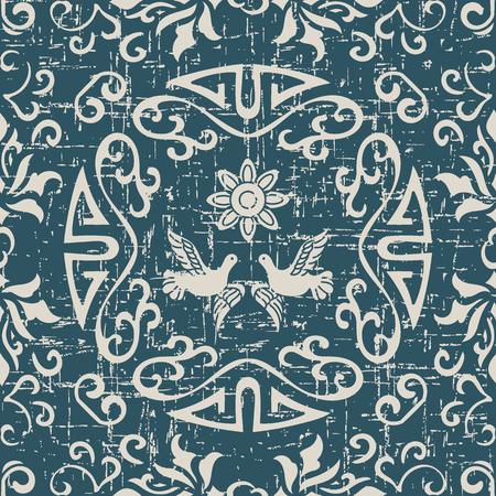 Worn out antique seamless background spiral round frame pigeon flower 向量圖像