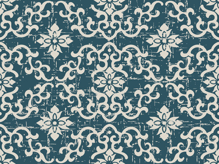 Worn out antique seamless background wave curve spiral flower cross