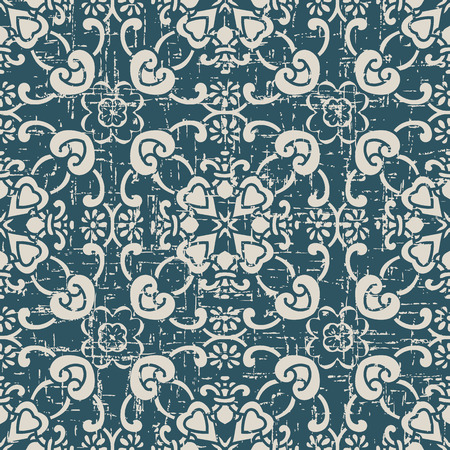 Worn out antique seamless background curve cross frame flower Imagens - 101178864