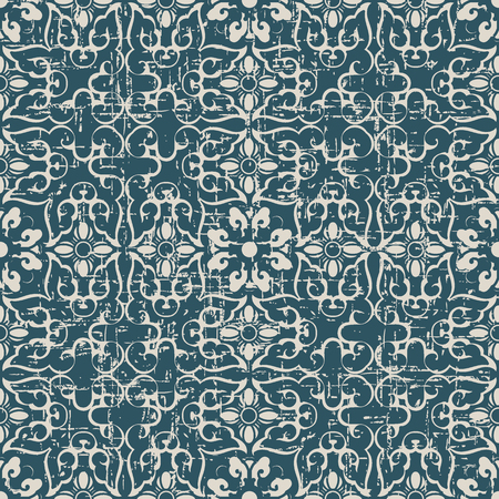 Worn out antique seamless background cross spiral curve flower