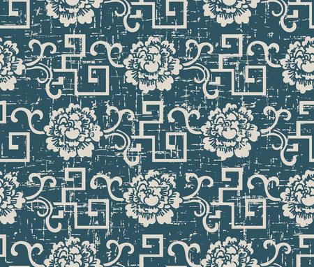 Worn out antique seamless background spiral geometry vine flower