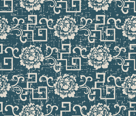 Worn out antique seamless background spiral geometry vine flower