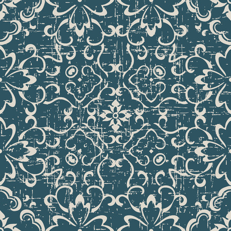 Worn out antique seamless background curve cross vine flower Stock Vector - 100918529