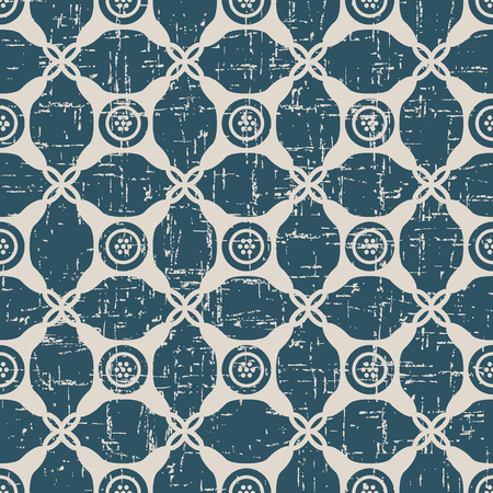 Worn out antique seamless background Round Corner Check Cross Dot Frame. Ideal for wallpaper decoration or greeting card design template. Illustration