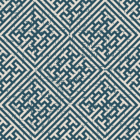 Worn out antique seamless background Check Square Cross Tracery Frame. Ideal for wallpaper decoration or greeting card design template.