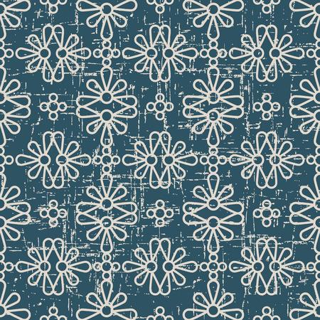 Versleten antieke naadloze achtergrond Round Curve Cross Petals Flower, ideaal voor behangdecoratie of wenskaart ontwerpsjabloon.