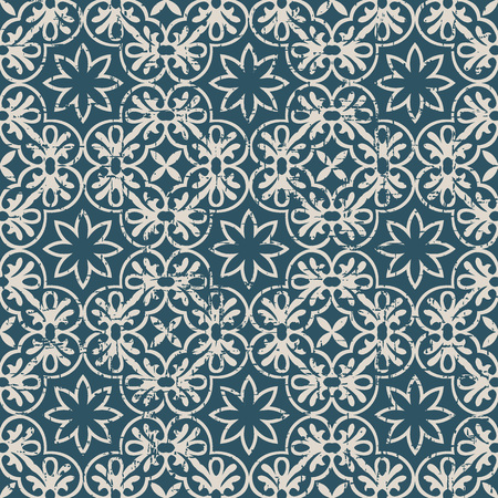 Worn out antique seamless background Round Spiral Cross Frame Flower. Ideal for wallpaper decoration or greeting card design template. Illustration