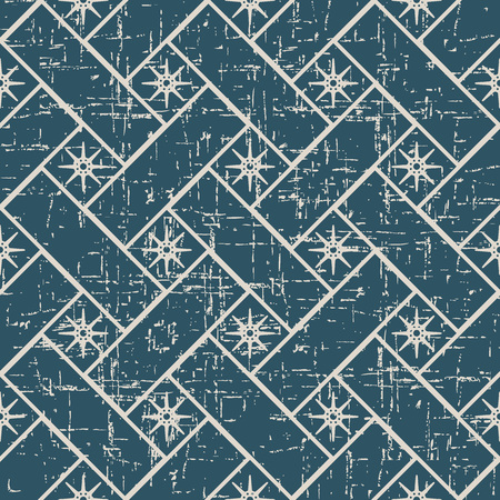 Worn out antique seamless background Cross Check Square Geometry Star Flower. Ideal for wallpaper decoration or greeting card design template.