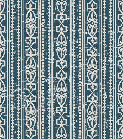 Worn out antique seamless background Diamond Check Curve Cross Crest Frame Line, Ideal for wallpaper decoration or greeting card design template.