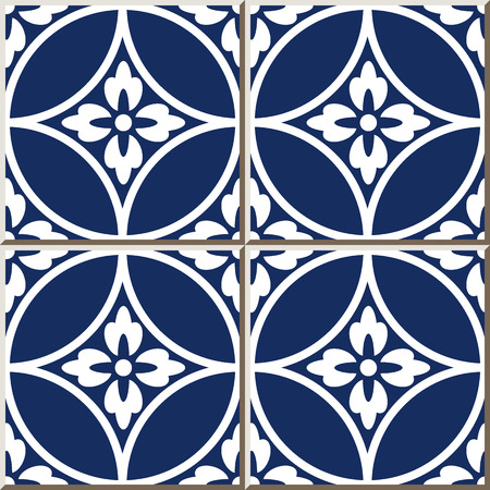 Ceramic tile pattern round cross frame flower, oriental interior floor wall ornament elegant stylish design 矢量图像