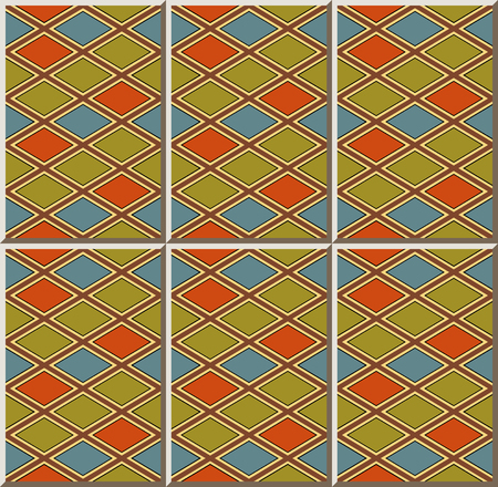 Ceramic tile pattern check diamond cross geometry frame, oriental interior floor wall ornament elegant stylish design