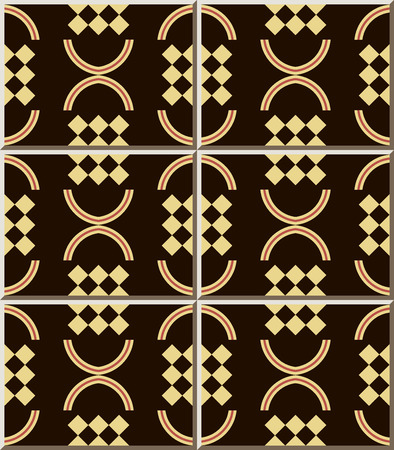 Ceramic tile pattern Curve Semi Circle Round Check Geometry, oriental interior floor wall ornament elegant stylish design 矢量图像