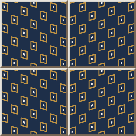 Ceramic tile pattern Geometry Polygon Dot Wave Frame, oriental interior floor wall ornament elegant stylish design Vectores