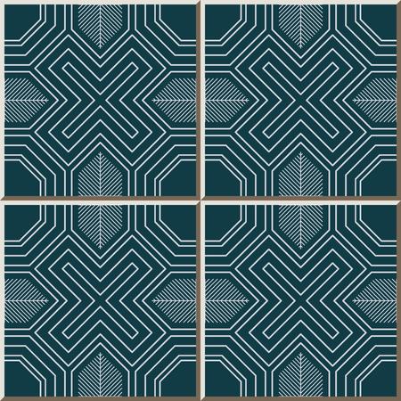 Ceramic tile pattern Polygon Cross Geometry Spiral Frame Line, oriental interior floor wall ornament elegant stylish design 免版税图像 - 102102413