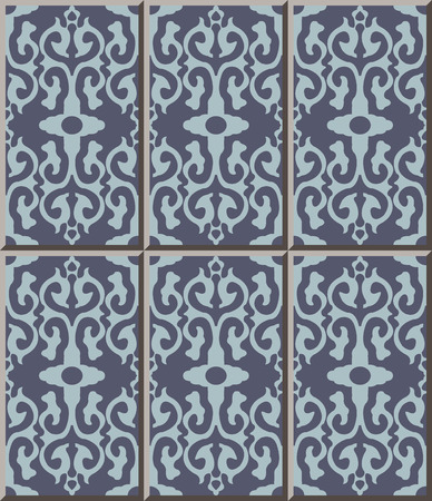 Ceramic tile pattern curve cross retro crest frame, oriental interior floor wall ornament elegant stylish design Illustration