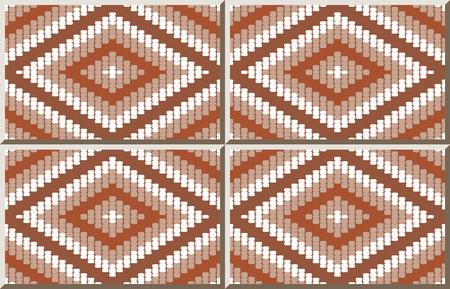 Ceramic tile pattern Stitch Woven Cross Square Check Diamond Frame Line, oriental interior floor wall ornament elegant stylish design Illustration