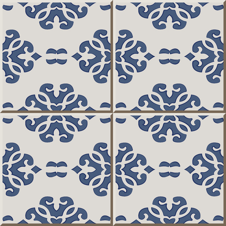 Ceramic tile pattern curve cross blue crest, oriental interior floor wall ornament elegant stylish design