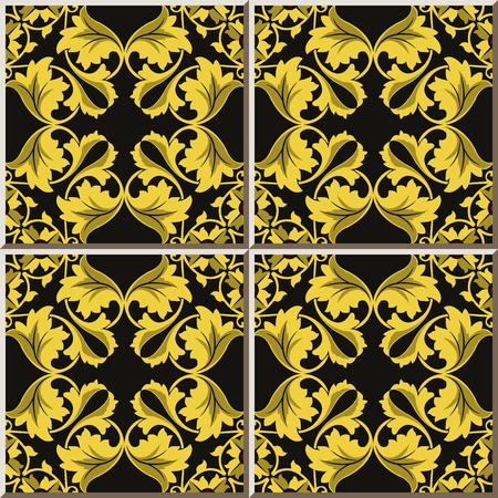 Ceramic tile pattern golden curve spiral round cross leaf frame, oriental interior floor wall ornament elegant stylish design  イラスト・ベクター素材