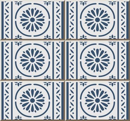 Ceramic tile pattern blue round curve cross frame line flower, oriental interior floor wall ornament elegant stylish design