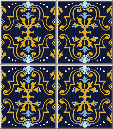 Ceramic tile pattern spiral curve cross gold frame blue flower, oriental interior floor wall ornament elegant stylish design