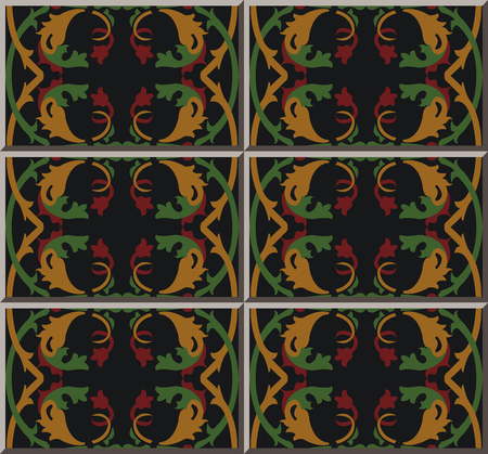 Ceramic tile pattern botanic garden spiral curve cross vine leaf flower, oriental interior floor wall ornament elegant stylish design Vectores