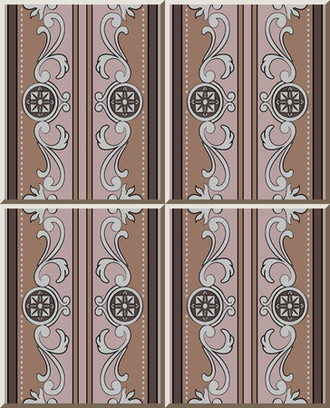 Ceramic tile pattern brown spiral curve frame round flower dot line, oriental interior floor wall ornament elegant stylish design