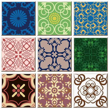Oriental antique retro ceramic tile pattern combo collection set, vintage interior floor decoration.