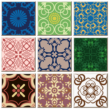 Oriental antique retro ceramic tile pattern combo collection set, vintage interior floor decoration.