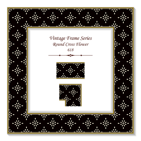 Vintage square 3D frame round cross flower, retro style template ideal for invitation or greeting card design.
