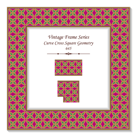 Vintage square 3D frame curve cross square geometry, retro style template ideal for invitation or greeting card design.