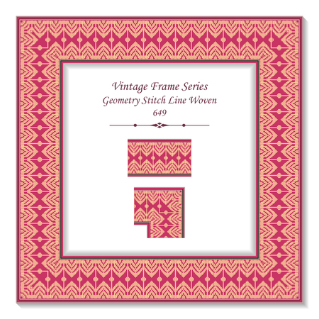 Vintage square 3D frame geometry stitch line woven, retro style template ideal for invitation or greeting card design.  イラスト・ベクター素材