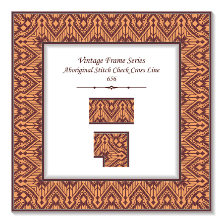 Vintage square 3D frame aboriginal red stitch check cross line, retro style template ideal for invitation or greeting card design.