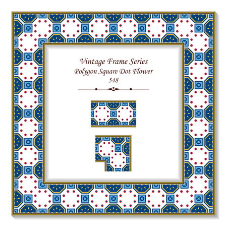 Vintage square 3D frame polygon square round dot cross flower, retro style template ideal for invitation or greeting card design.