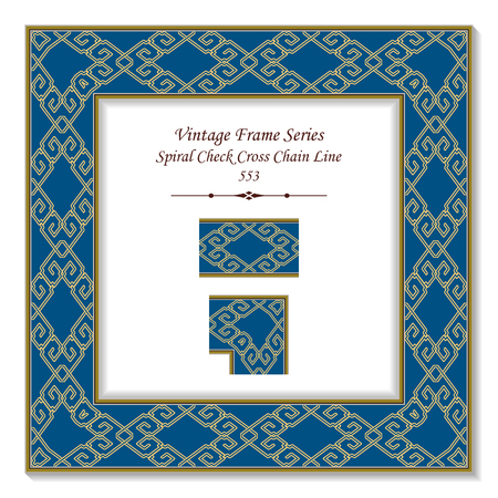 Vintage square 3D frame yellow spiral check cross chain line, retro style template ideal for invitation or greeting card design.