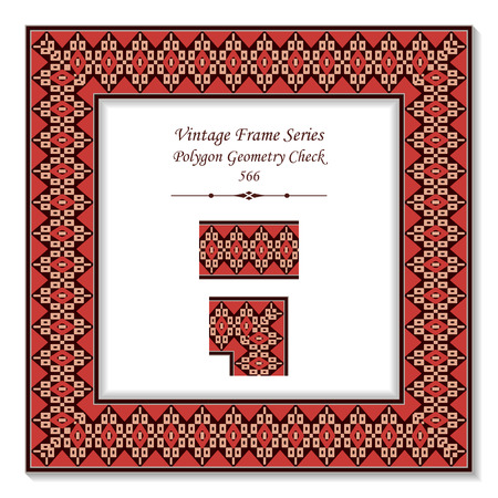 Vintage square 3D frame polygon geometry check cross, retro style template ideal for invitation or greeting card design.