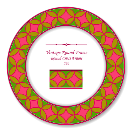 Vintage Round Retro Frame colorful round cross geometry, antique style template ideal for invitation or greeting card design.
