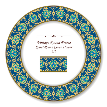 Vintage Round Retro Frame spiral round curve flower, antique style template ideal for invitation or greeting card design.