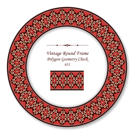 Vintage Round Retro Frame polygon geometry check cross, antique style template ideal for invitation or greeting card design.