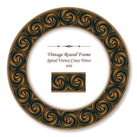 Vintage Round Retro Frame spiral vortex cross wave, antique style template ideal for invitation or greeting card design.