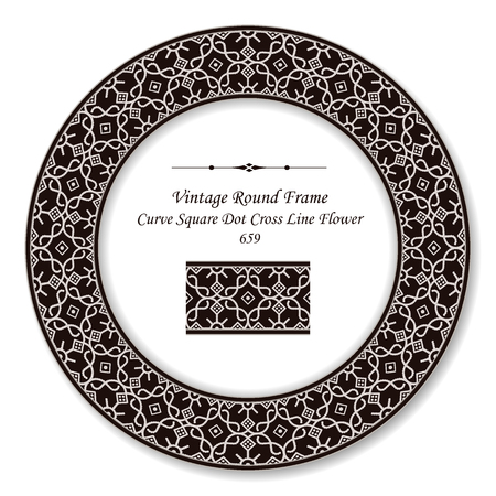 Vintage Round Retro Frame curve square dot cross line flower, antique style template ideal for invitation or greeting card design.